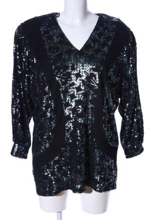 Bernd Linek Couture Oversized Bluse schwarz-türkis Casual-Look