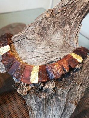 Naszyjnik brąz-złoto