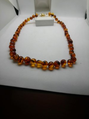 Natur Bernsteinkette Collana di perle marrone