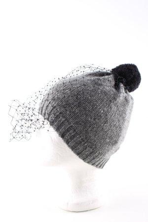 Chapeau en tricot gris clair-noir moucheté style décontracté
