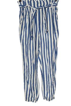 Bershka 7/8-Hose blau-weiß Allover-Druck Casual-Look
