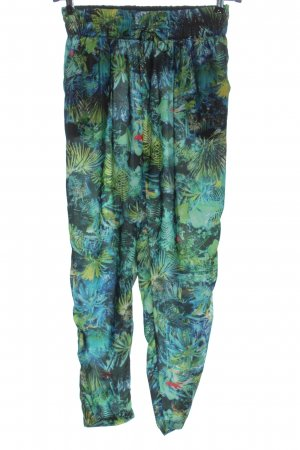 Bershka 7/8-Hose grün-blau abstraktes Muster Casual-Look