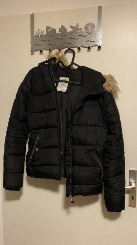Bershka Quilted Coat black-brown
