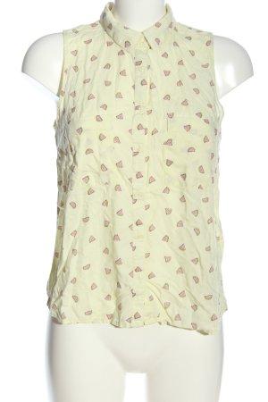 Bershka Blusa senza maniche giallo pallido-rosa Stampa a tema stile casual