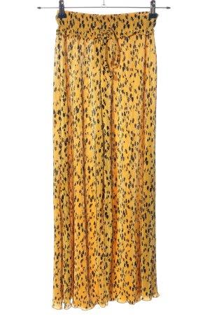 Bershka Baggy Pants blassgelb-schwarz abstraktes Muster Casual-Look