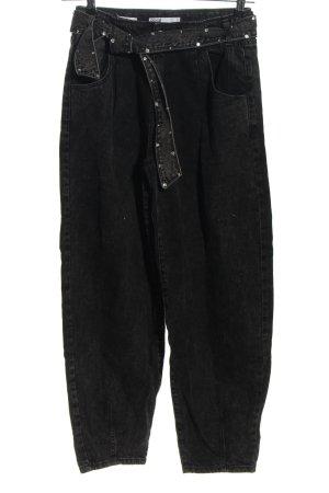 Bershka Workowate jeansy czarny W stylu casual