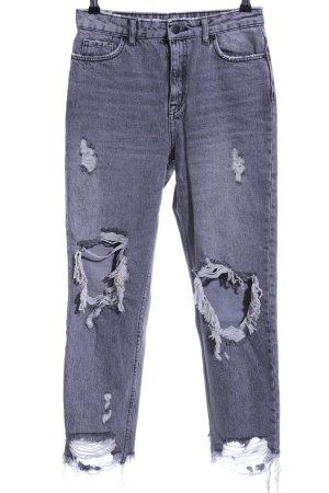 Bershka Baggy jeans lichtgrijs casual uitstraling