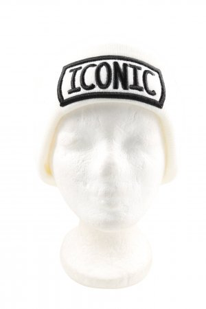 Bershka Beanie white-black printed lettering casual look