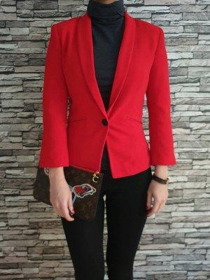 Bershka Blazer 34 36 XS S rot knit Peplum Jacke Cardigan Mantel Top Neu