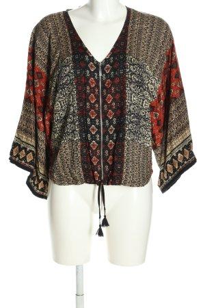 Bershka Bluzon brązowy-jasny pomarańczowy Graficzny wzór W stylu casual