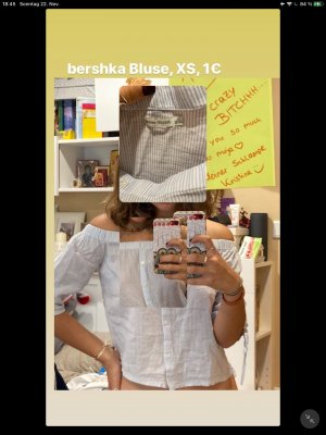 BSK by Bershka Long Sleeve Blouse white-pale blue