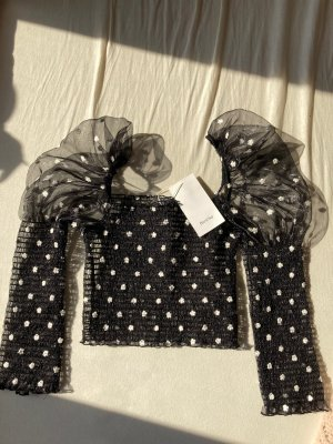 Bershka Cropped Shirt black-white