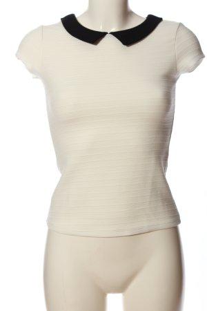 Bershka Kurzarm-Bluse weiß Streifenmuster Casual-Look
