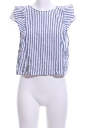 Bershka Blouse topje wit-lichtgrijs gestreept patroon casual uitstraling