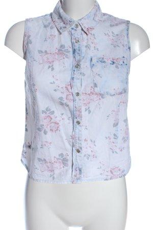 Bershka Blouse topje blauw-roze bloemenprint casual uitstraling