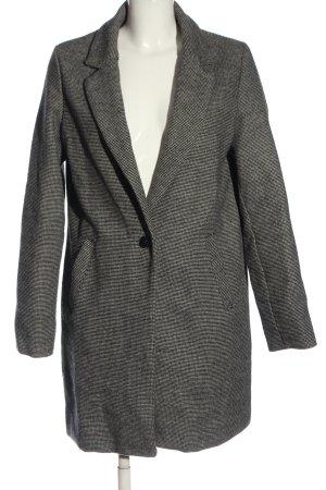 Bershka Manteau long noir-gris clair moucheté style décontracté