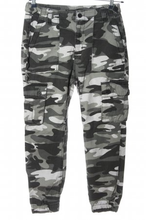 Bershka Boyfriend Trousers light grey-white camouflage pattern casual look