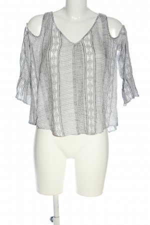 Bershka Blouse Carmen gris clair-blanc imprimé allover style décontracté