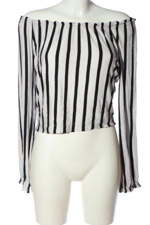 Bershka Carmen-Bluse weiß-schwarz Streifenmuster Casual-Look
