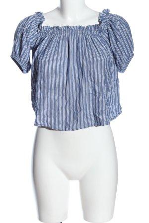 Bershka Carmen-Bluse blau-weiß Streifenmuster Casual-Look
