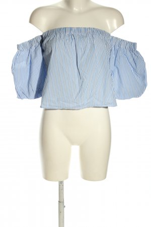 Bershka Carmen-Bluse weiß-blau Streifenmuster Casual-Look