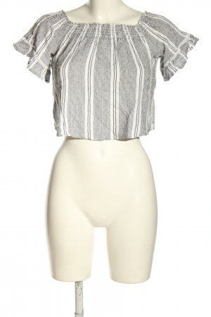 Bershka Carmen Blouse white-black striped pattern casual look