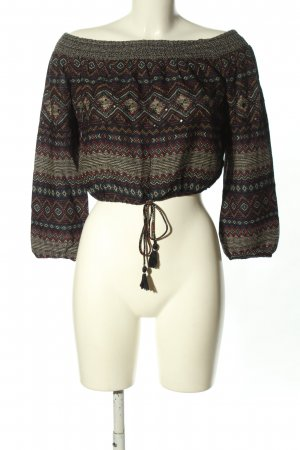 Bershka Carmenshirt braun-creme Allover-Druck Casual-Look