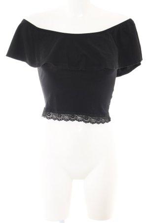 Bershka Camisa tipo Carmen negro look casual