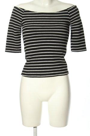 Bershka Top épaules dénudées noir-blanc imprimé allover style décontracté