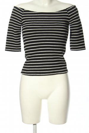 Bershka Carmenshirt schwarz-weiß Allover-Druck Casual-Look