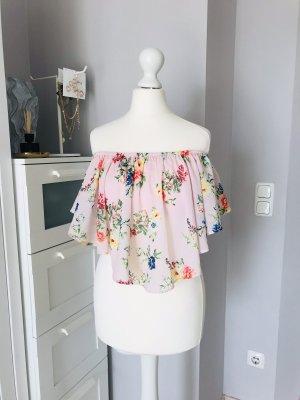Bershka Chiffon Top Floral Schulterfrei