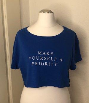 Bershka Camisa recortada azul Algodón