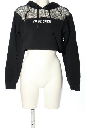 Bershka Cropped Pullover schwarz-weiß Schriftzug gedruckt Casual-Look