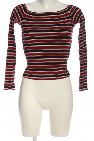 Bershka Cropped Pullover schwarz-rot Streifenmuster Casual-Look