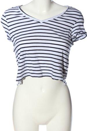 Bershka Cropped Shirt weiß-schwarz Streifenmuster Casual-Look