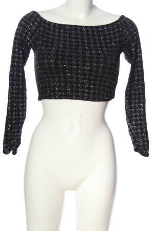 Bershka Cropped Shirt schwarz-silberfarben grafisches Muster Elegant