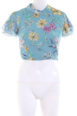 Bershka Camisa recortada azul-rosa estampado repetido sobre toda la superficie