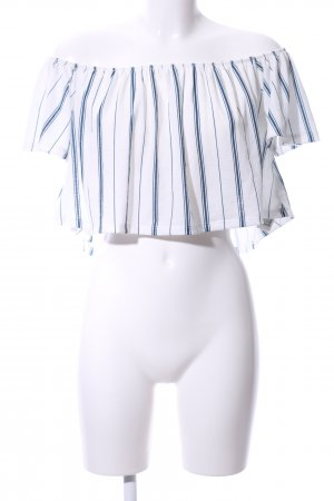 Bershka Cropped Shirt weiß-blau Streifenmuster Casual-Look