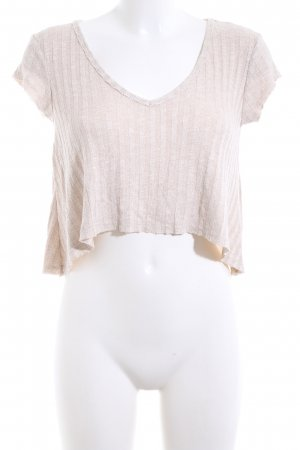 Bershka Cropped Shirt creme meliert Casual-Look