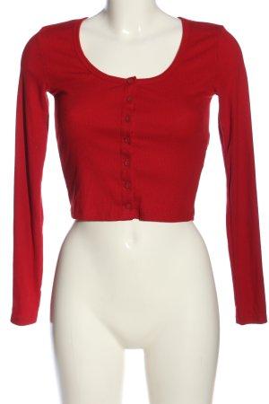 Bershka Cropped Shirt rot Casual-Look