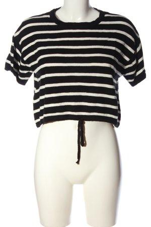 Bershka Cropped Shirt black-white striped pattern casual look