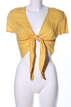Bershka Cropped Shirt primrose-white spot pattern casual look