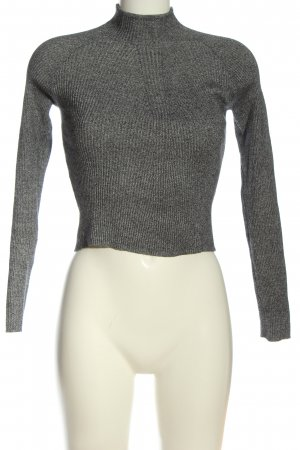 Bershka Cropped Shirt hellgrau-schwarz meliert Casual-Look