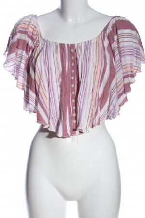 Bershka Cropped Shirt pink-white striped pattern casual look
