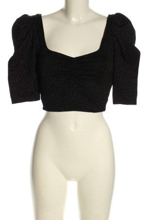 Bershka Cropped Shirt schwarz Elegant