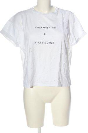 Bershka Cropped Shirt white spot pattern casual look