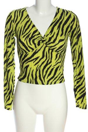 Bershka Cropped Shirt blassgelb-schwarz Allover-Druck extravaganter Stil