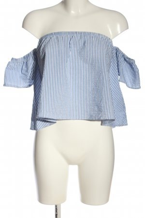 Bershka T-shirt court bleu-blanc motif rayé style décontracté