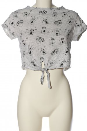 Bershka Cropped Shirt hellgrau-schwarz Allover-Druck Casual-Look
