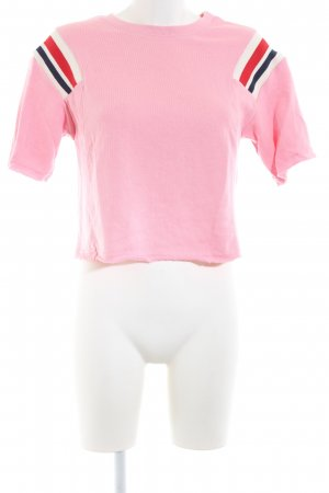 Bershka Cropped Shirt pink-red striped pattern casual look